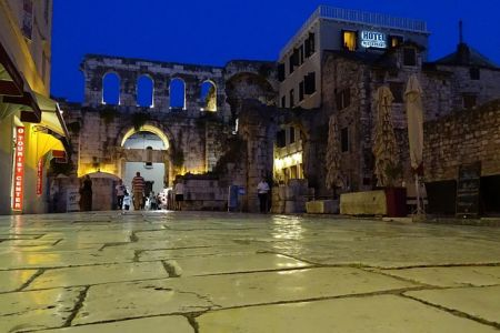 Diocletian's Palace by night, Split, Central Dalmatia
